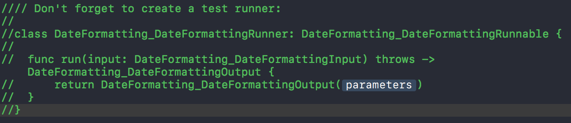 Test runner template code